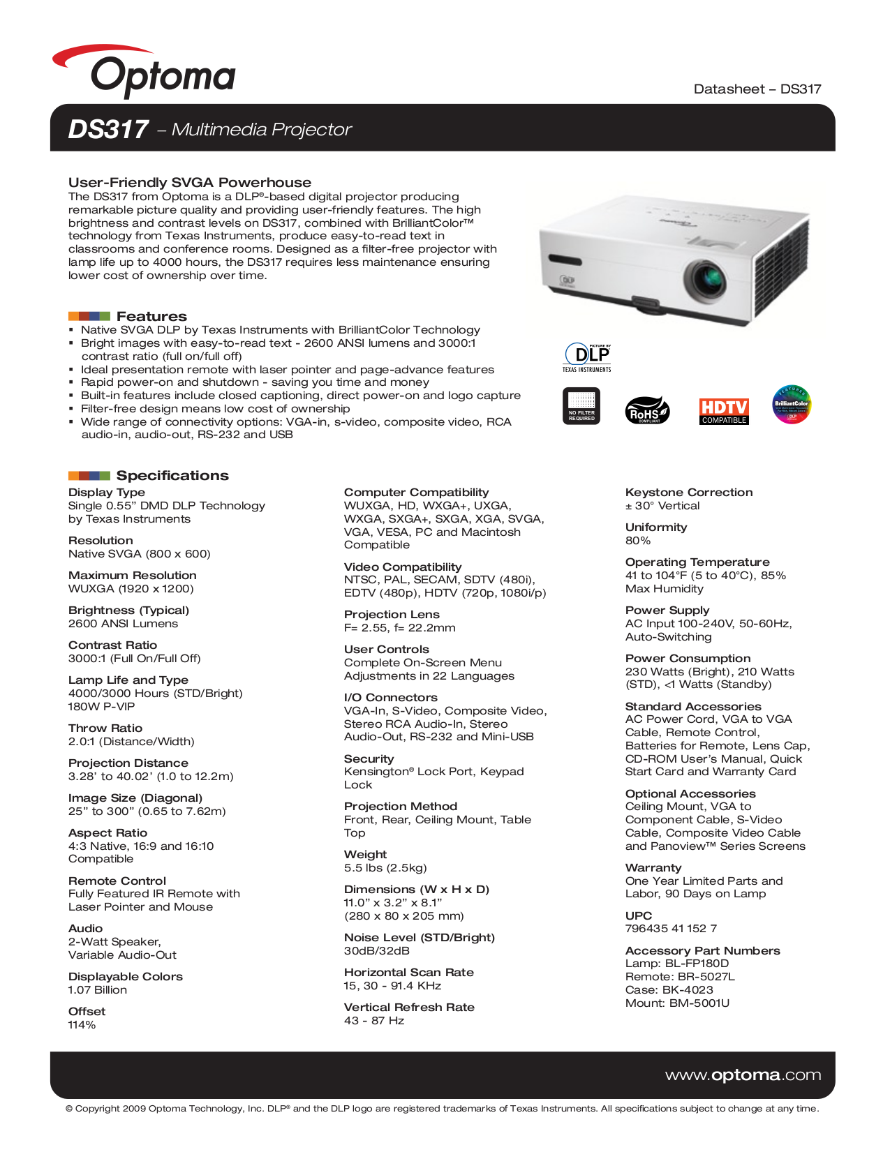 pdf for Optoma Projector DS317 manual