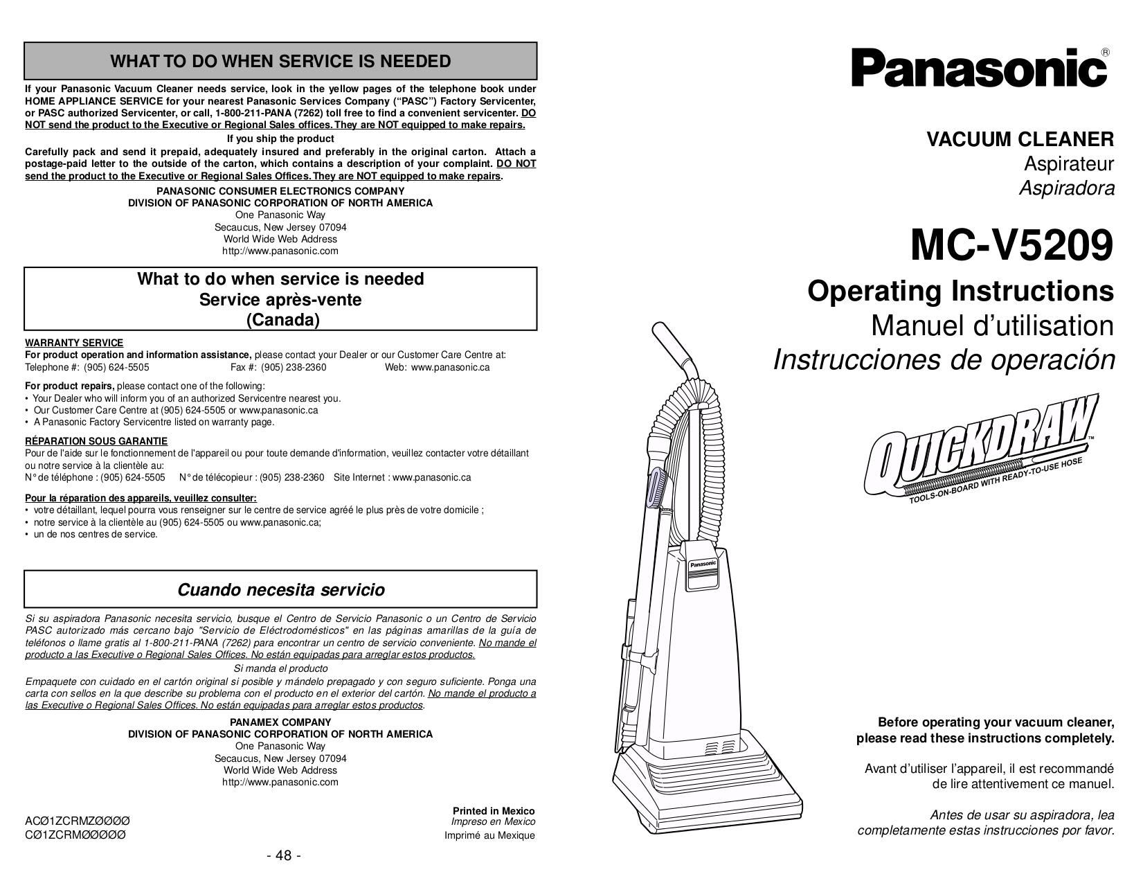 pdf for Panasonic Vacuum MC-V5209 manual