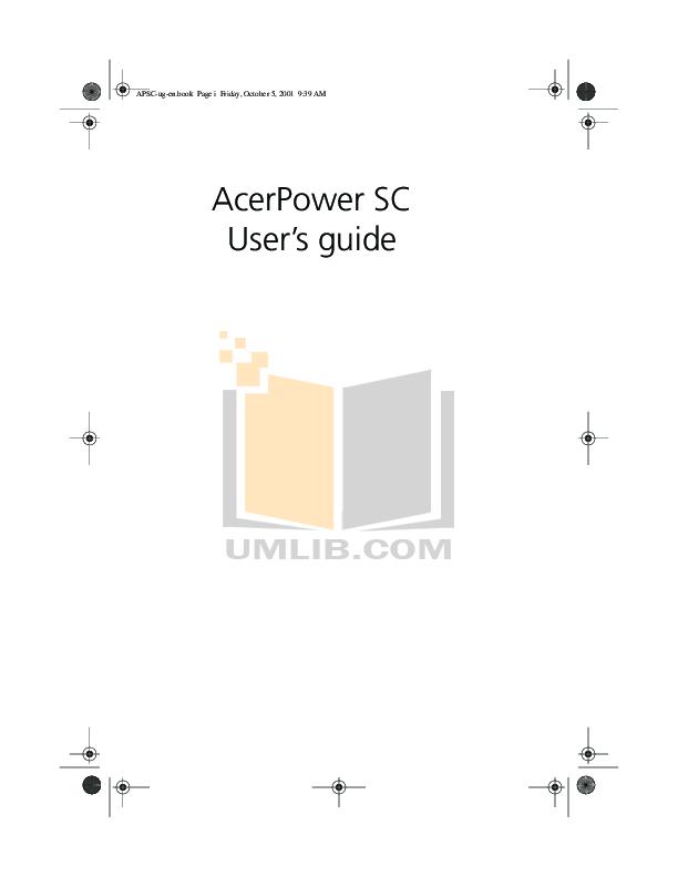 pdf for Acer Desktop AcerPower Kt manual