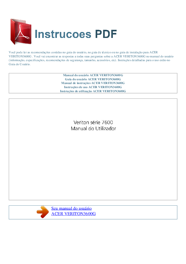 pdf for Acer Desktop Veriton 7600D manual