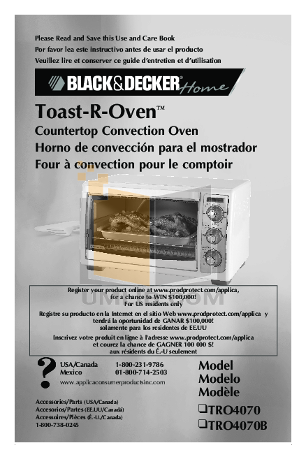 pdf for BlackAndDecker Oven TRO4070 manual