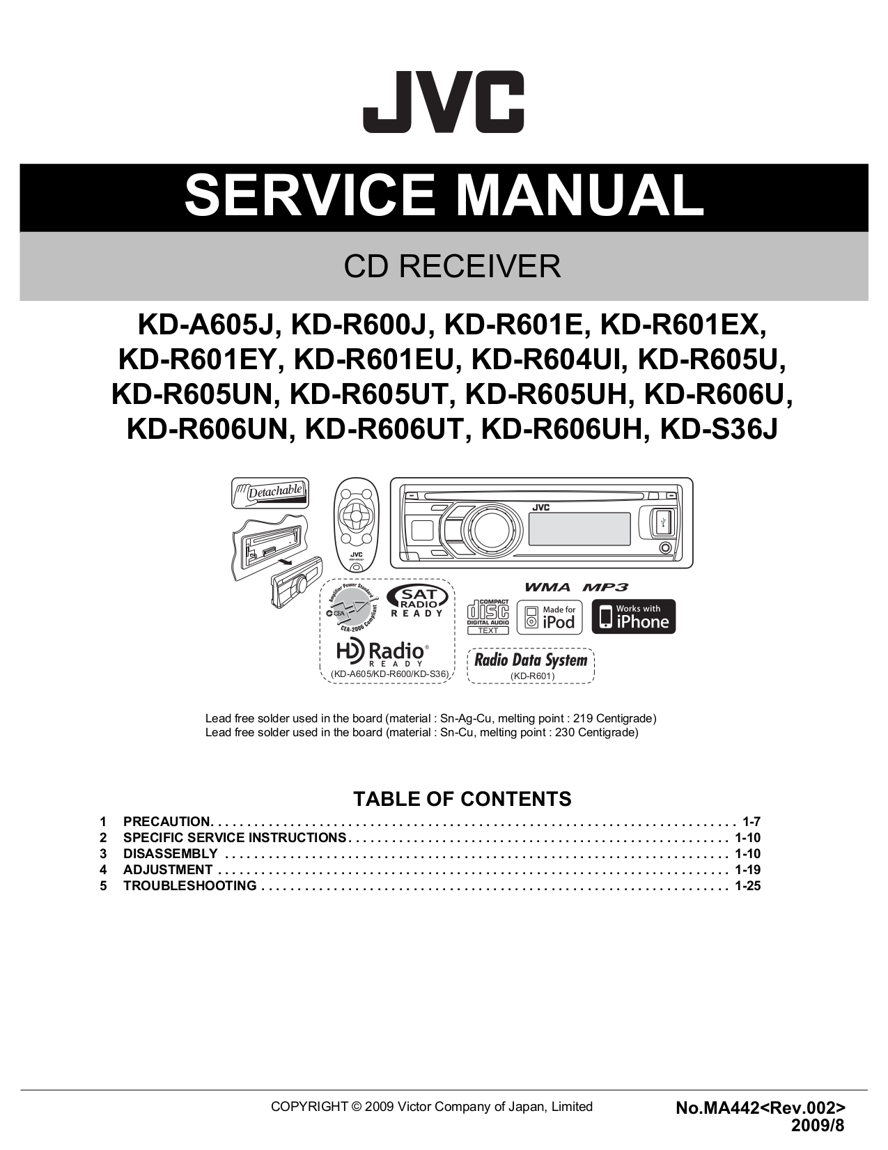 JVC_KD A605_R600_R601_R604_R605_R606_S36.pdf 0 download free pdf for jvc kd s51 car receiver manual jvc kd g220 wiring diagram at soozxer.org