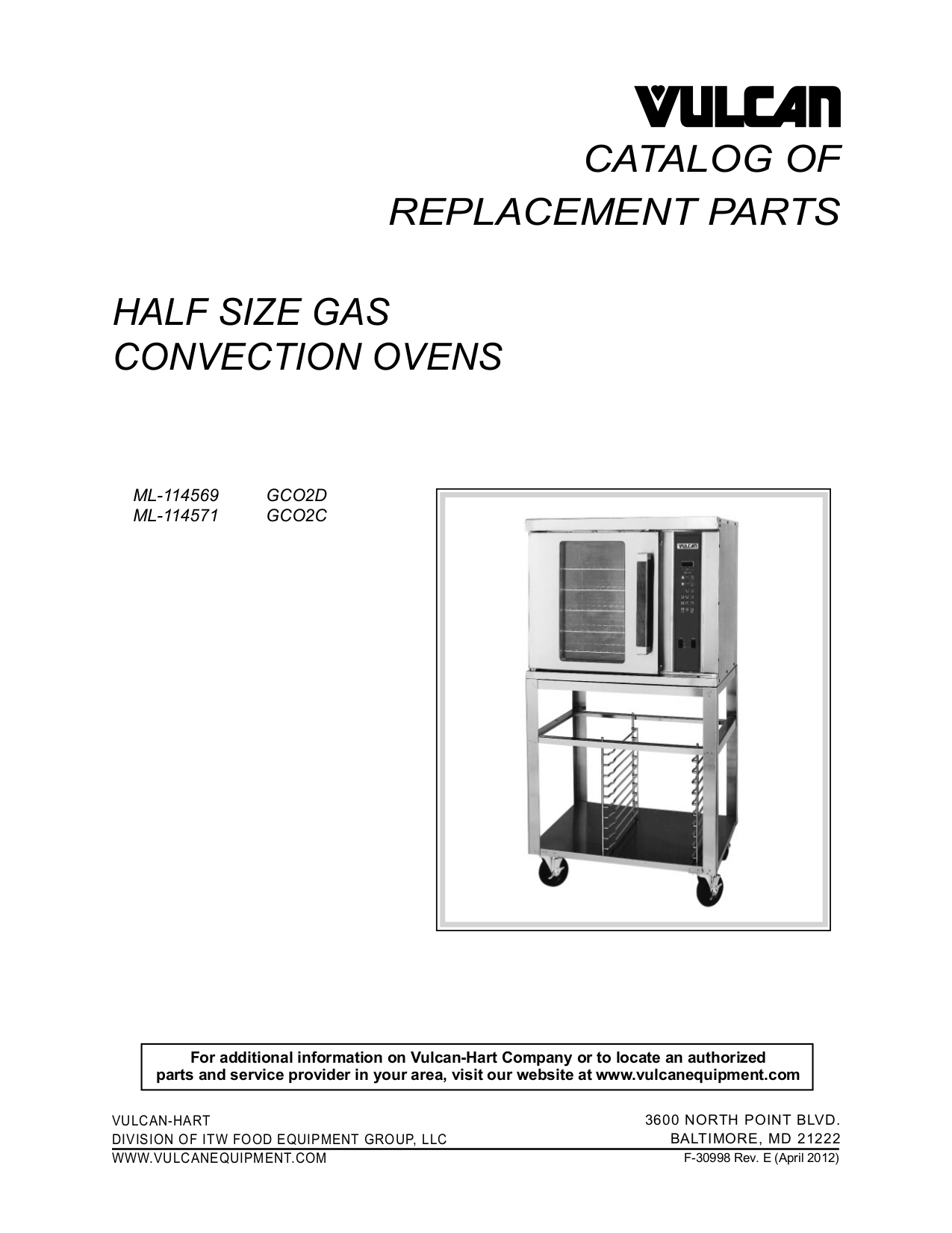 pdf for Vulcan Oven GCO2C manual