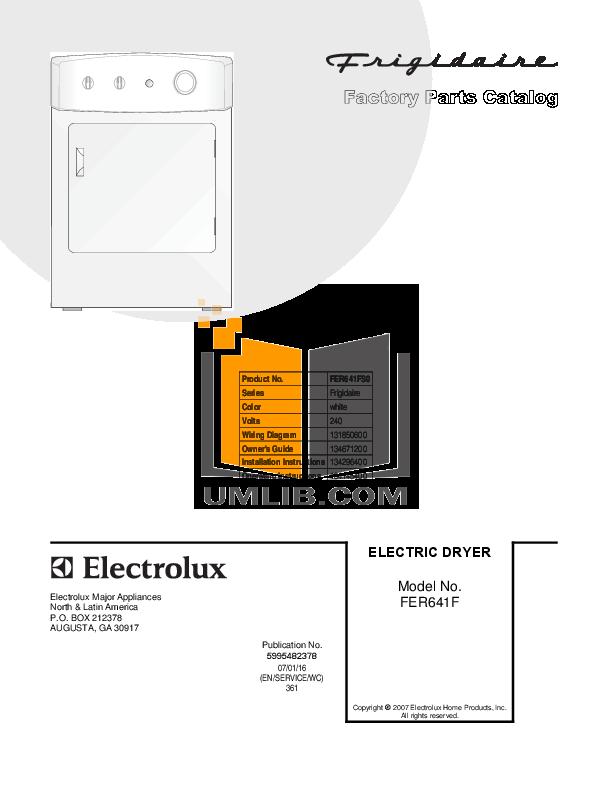 pdf for Frigidaire Dryer FER641FS manual