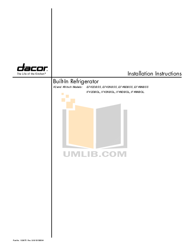 pdf for Dacor Refrigerator Integrated IF48DBOL manual
