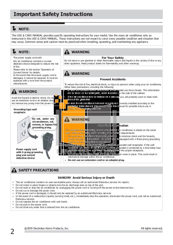 pdf manual for frigidaire air conditioner fra113pt1 rh umlib com