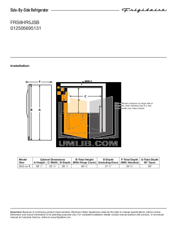 pdf for Frigidaire Refrigerator FRS6HR5JSB manual