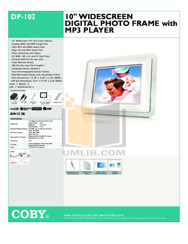 download free pdf for coby dp 102 digital photo frame manual rh umlib com