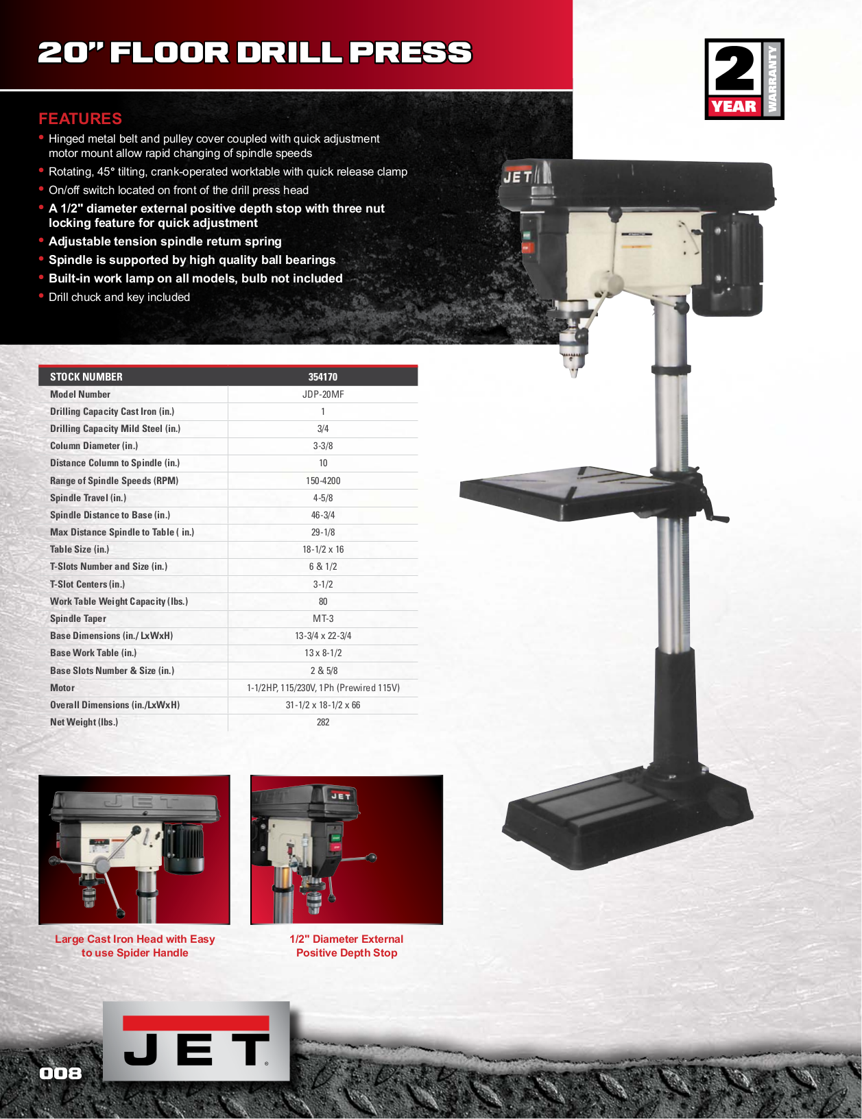 ... Jet Other JDP-20MF Drill Press pdf page preview