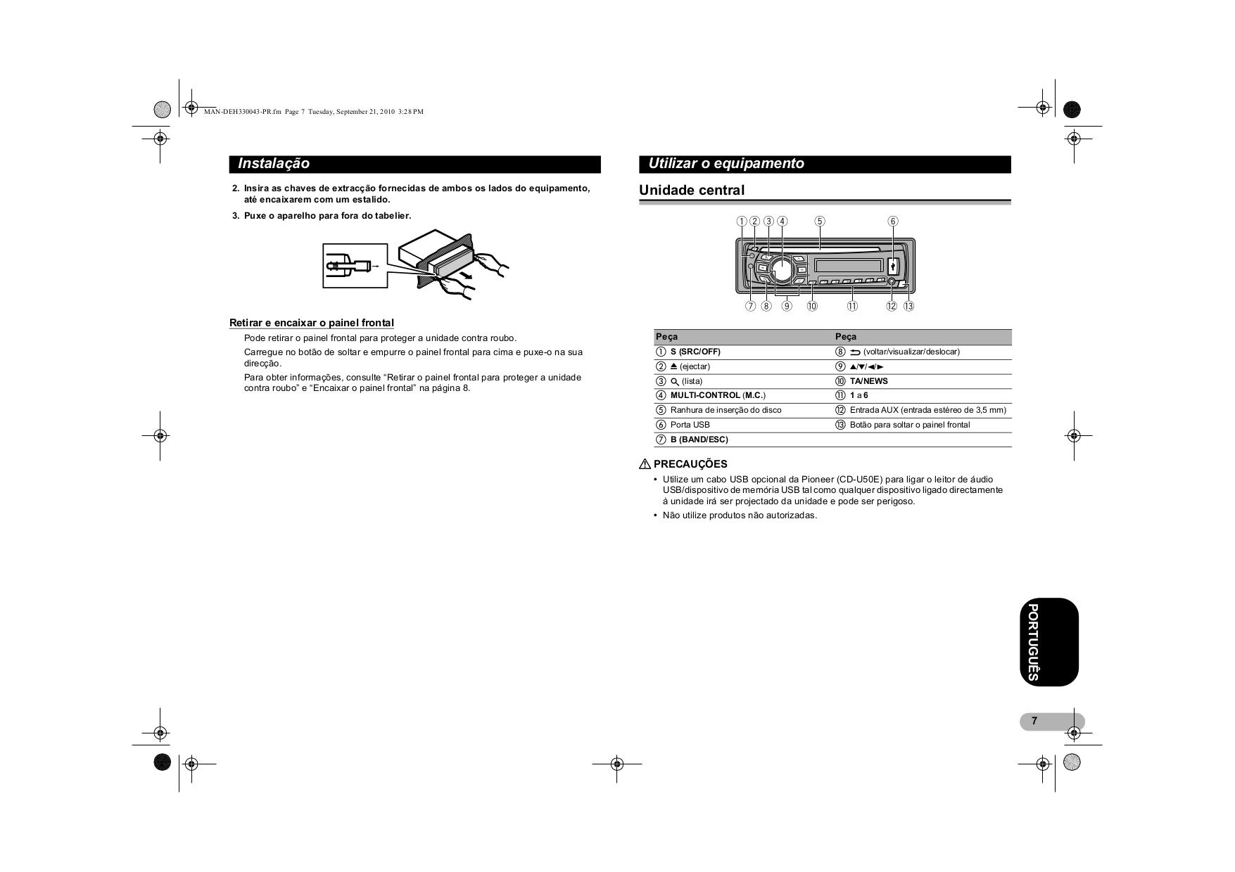 Схема подключения магнитолы pioneer deh 4300ub