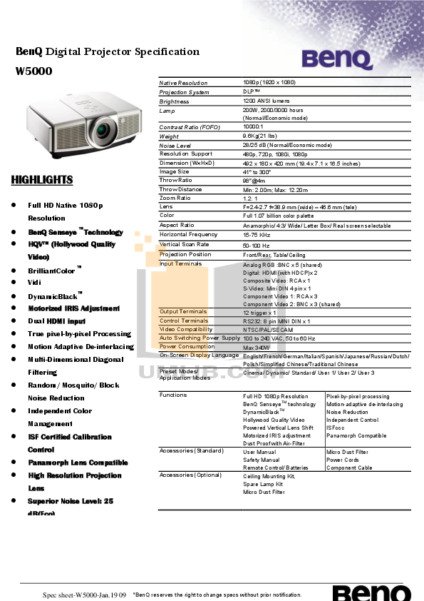 pdf for Benq Projector W5000 manual