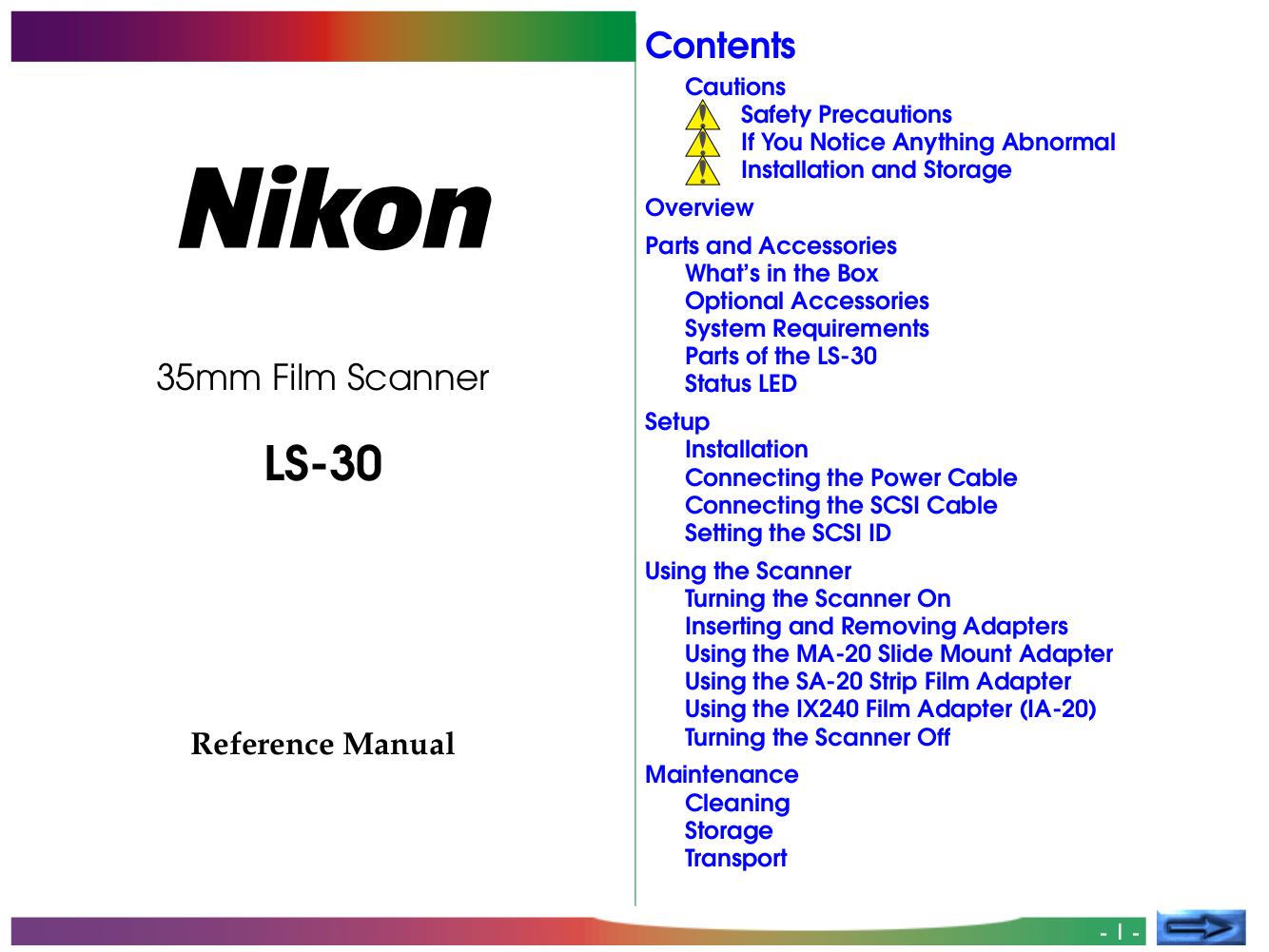 pdf for Nikon Scanner LS-20 manual