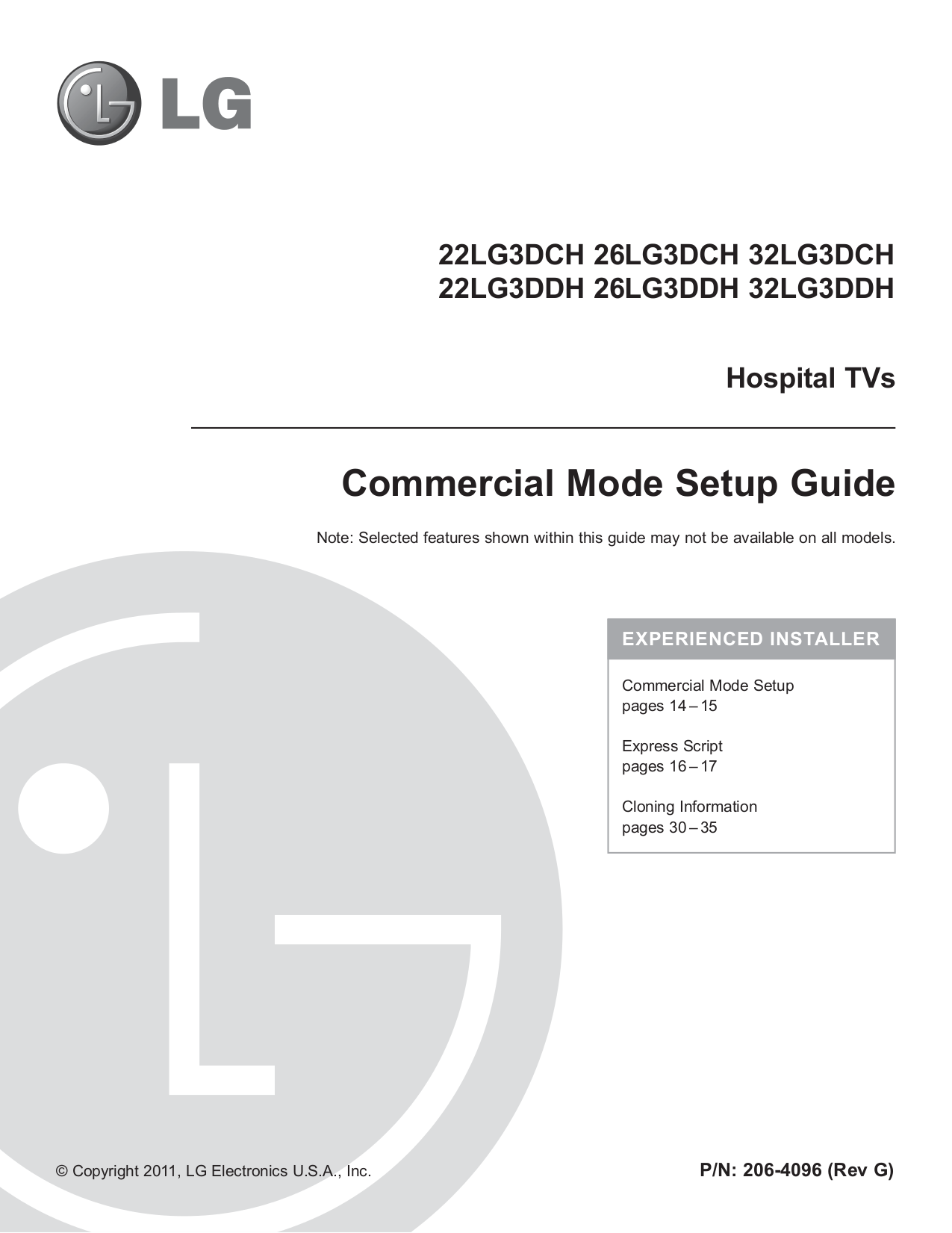 LG TV 26LG3DDH pdf page preview