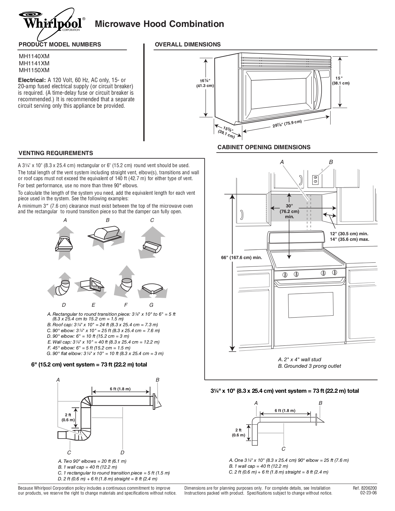 pdf for Whirlpool Microwave MH1141XM manual