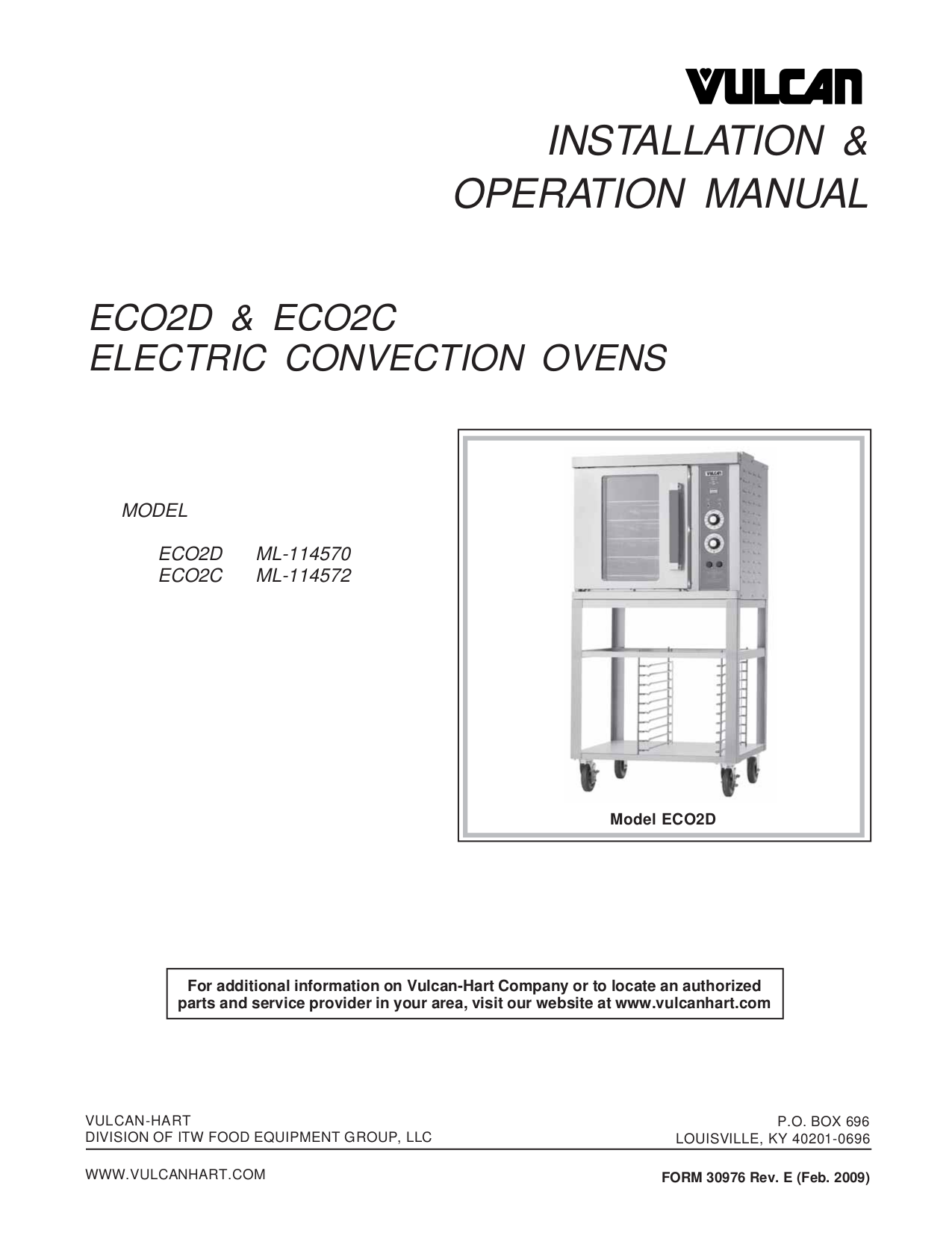 pdf for Vulcan Oven ECO2C manual