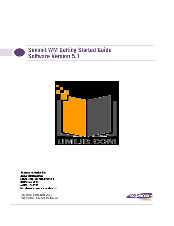 pdf for Extreme Switch Summit WM200 manual