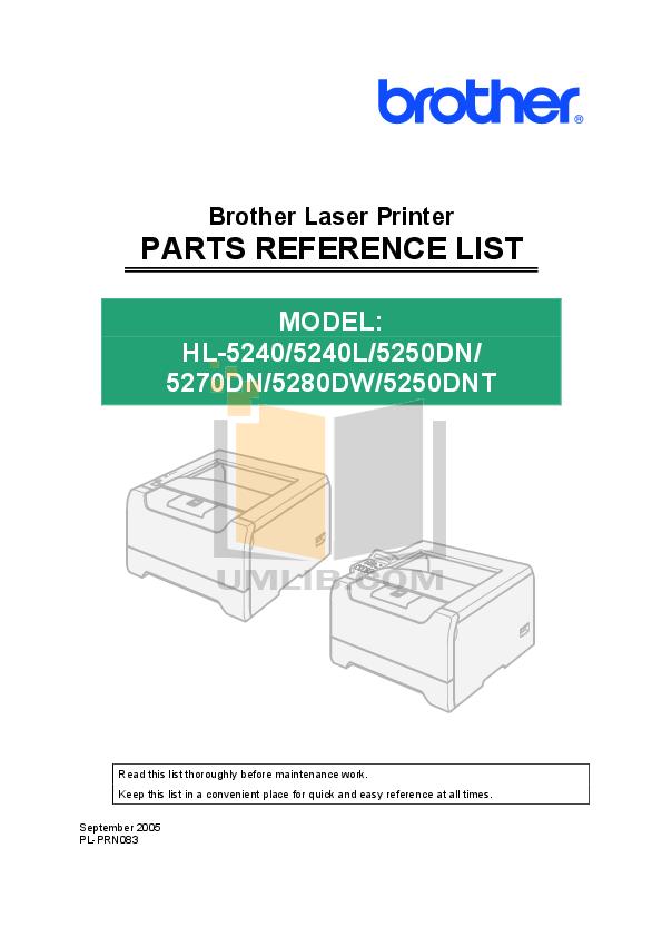 pdf for Brother Printer HL-5250DN manual