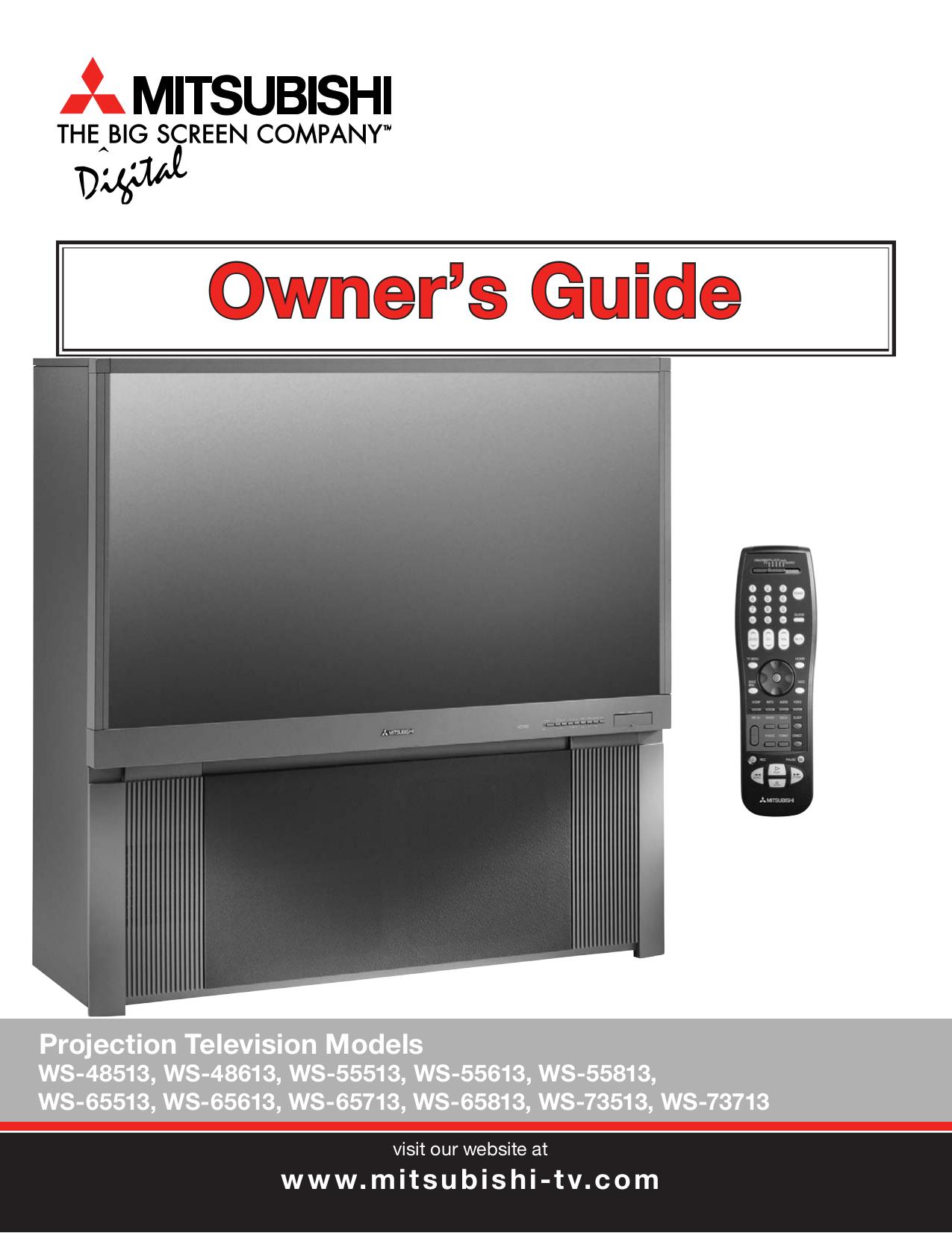 pdf for Mitsubishi TV WS-65513 manual