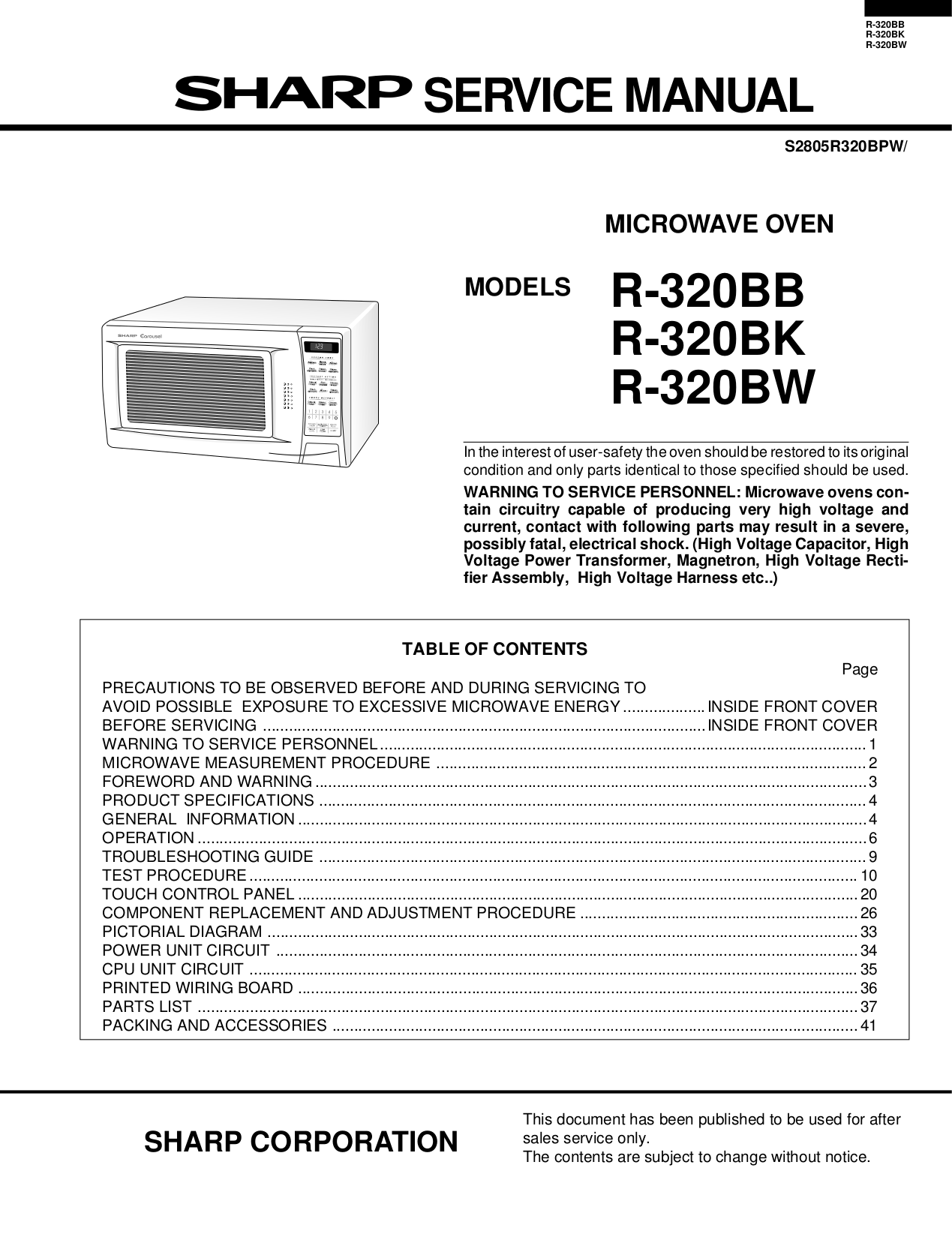 pdf for Sharp Microwave R-510H manual