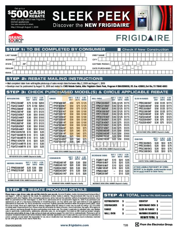 pdf for Frigidaire Refrigerator Gallery FGHT2144KF manual