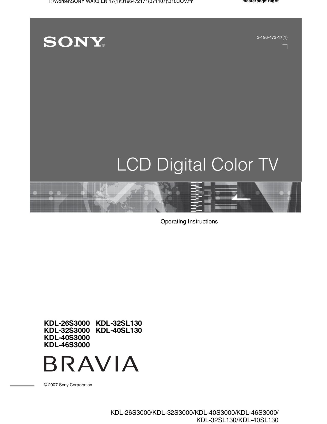 download free pdf for sony bravia kdl 40s3000 tv manual rh umlib com sony bravia kdl-40s3000 specs sony bravia kdl-40s3000 specs