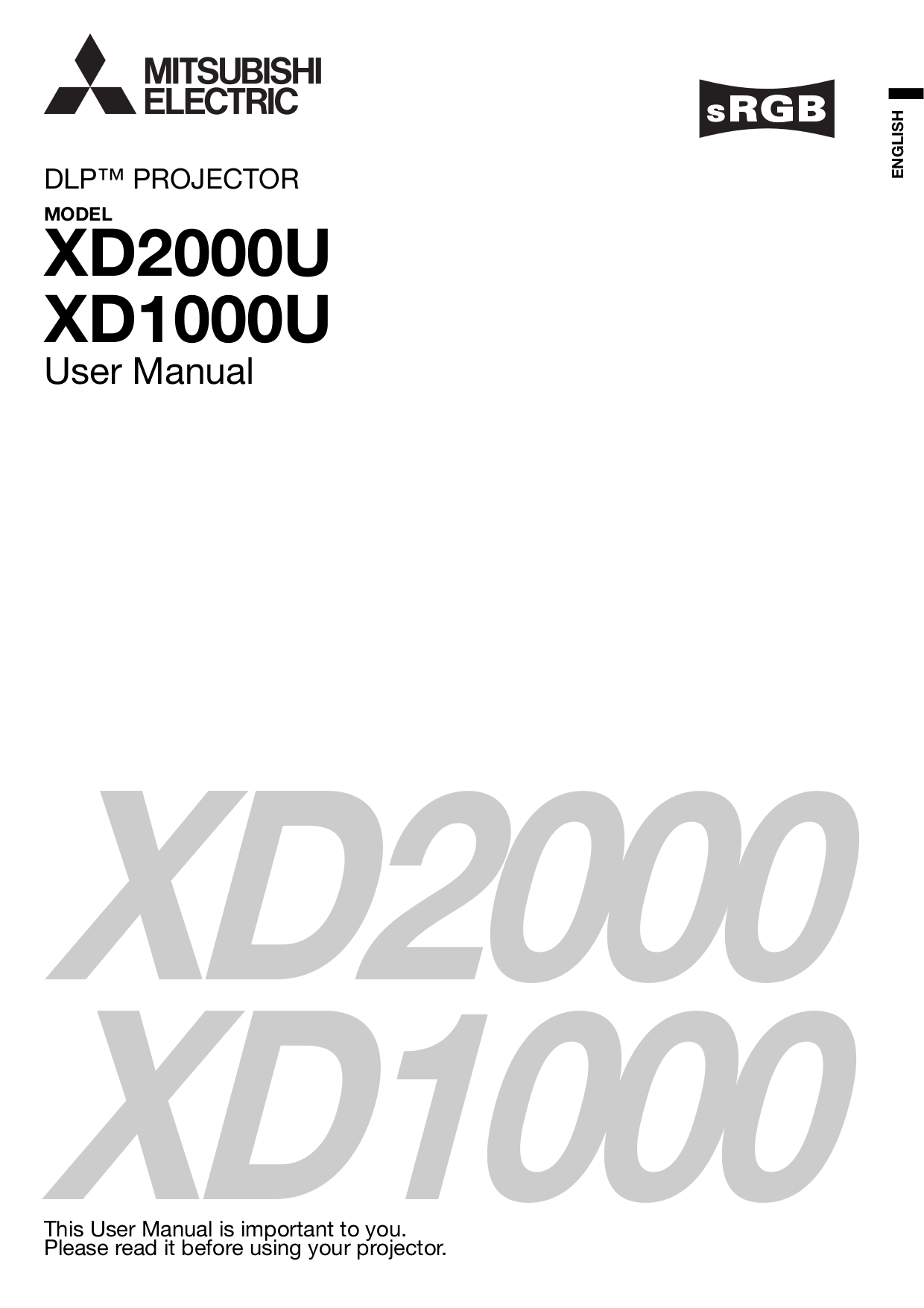 Download Free Pdf For Mitsubishi Xd2000u Projector Manual border=