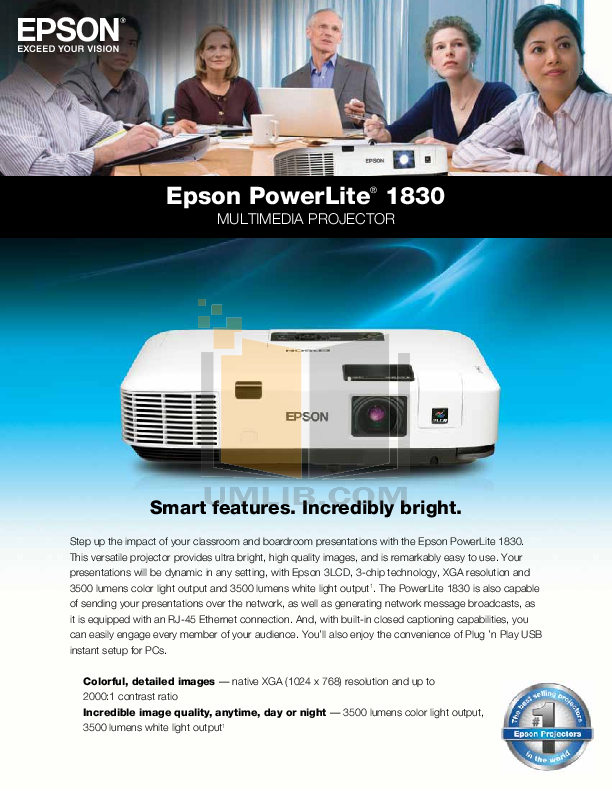 pdf for Epson Projector PowerLite 1830 manual