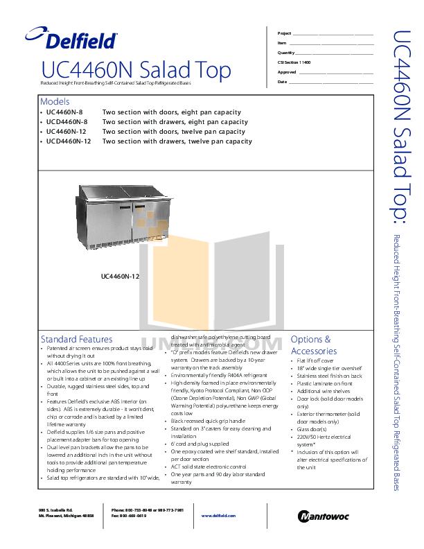 pdf for Delfield Refrigerator UC4460N manual
