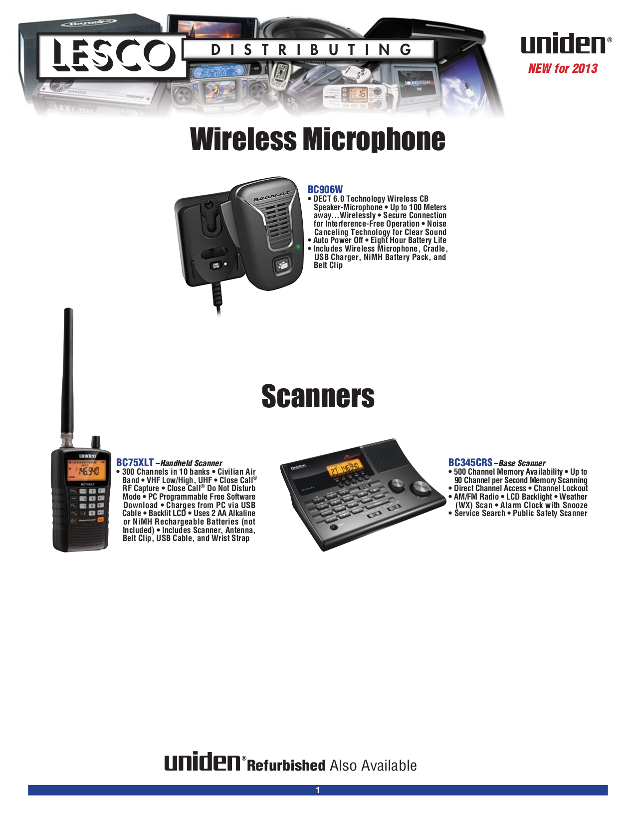 pdf for Uniden 2-way Radio PC68LTW manual