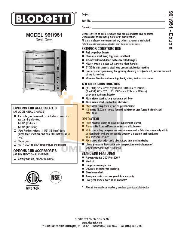 pdf for Blodgett Oven 951 DOUBLE manual