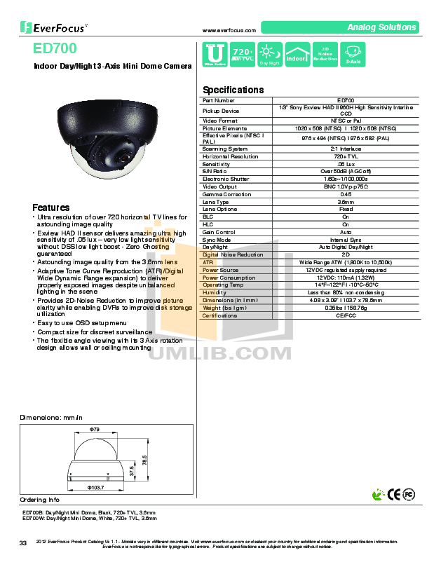 pdf for EverFocus Security Camera EHD700 manual