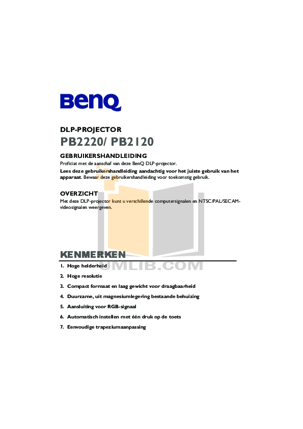 Benq Projector PB2220 pdf page preview