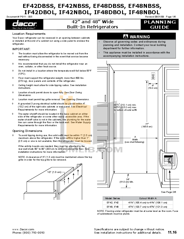 pdf for Dacor Refrigerator Integrated IF42DBOL manual