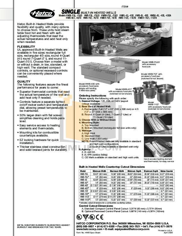 pdf for Hatco Other HWBL-FULD manual