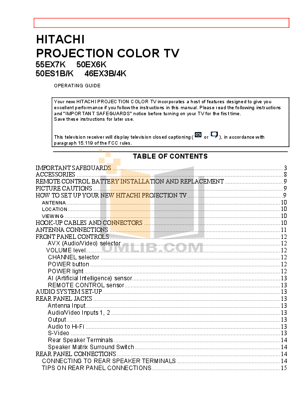 pdf for Hitachi TV 50ES1K manual