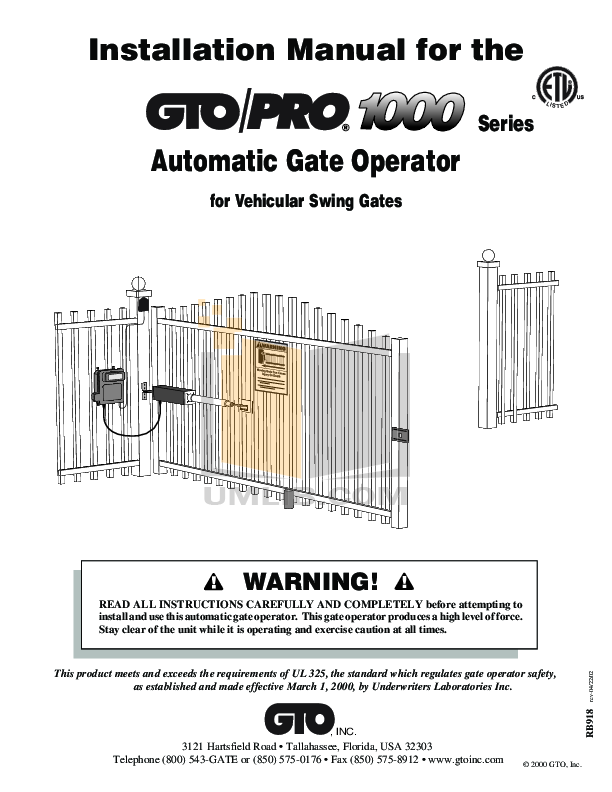 Pdf manual for gto other sw-1000 gate operater.