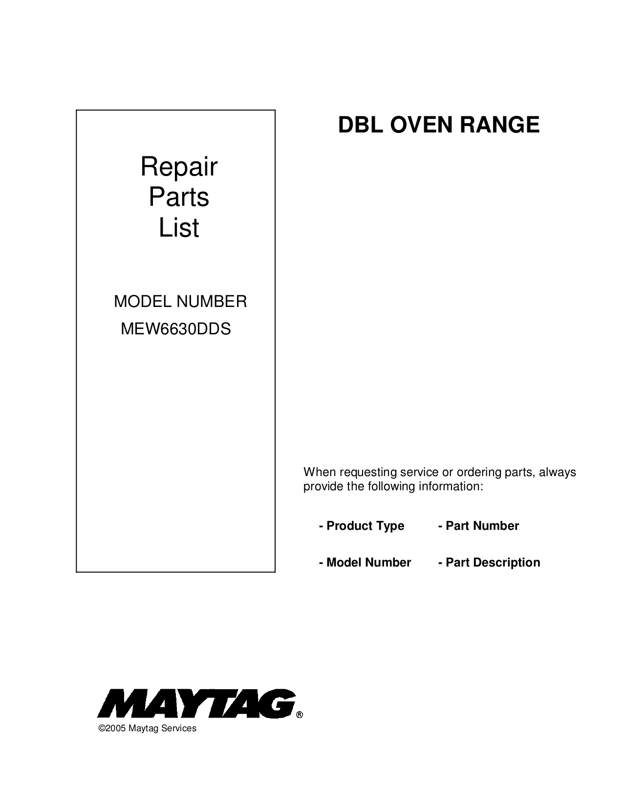 pdf for Maytag Oven MEW6630DD manual