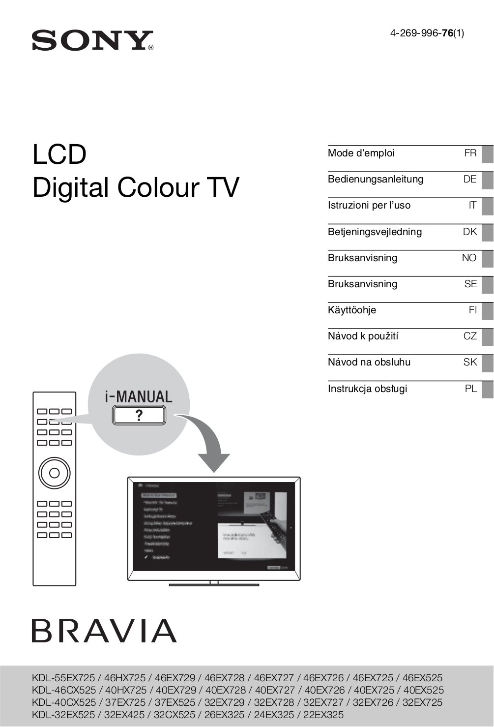 pdf for Sony LCD TV BRAVIA KDL-46EX729 manual