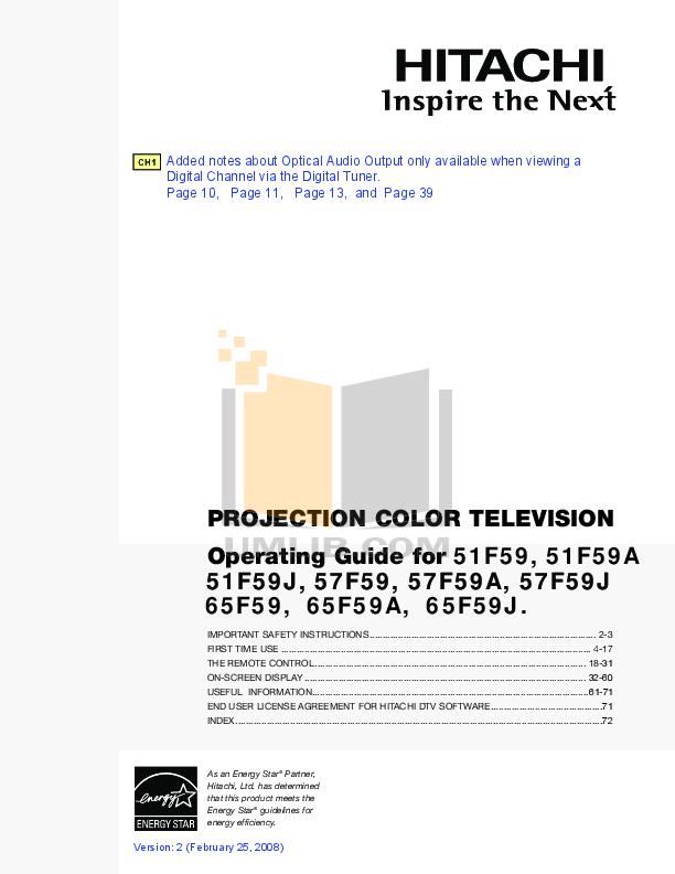 pdf for Hitachi TV 51F59 manual