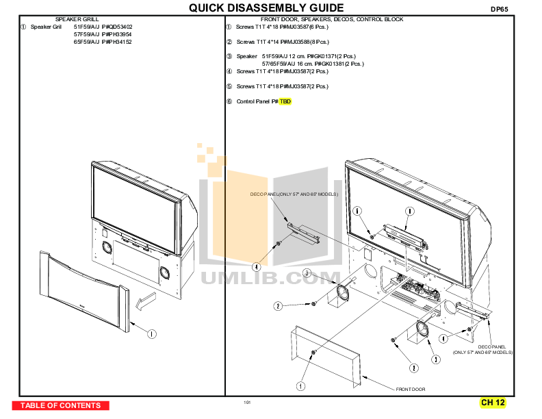pdf for Hitachi TV 51F59 manual