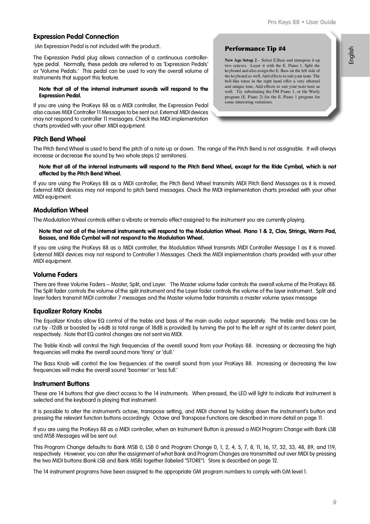 PDF manual for M-Audio Music Keyboard ProKeys 88sx