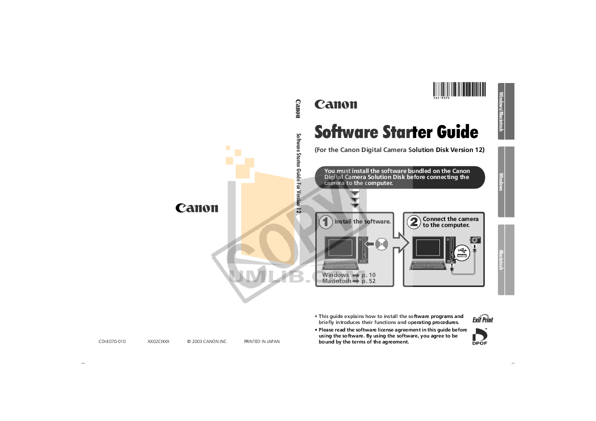 pdf for Canon Digital Camera Powershot A60 manual
