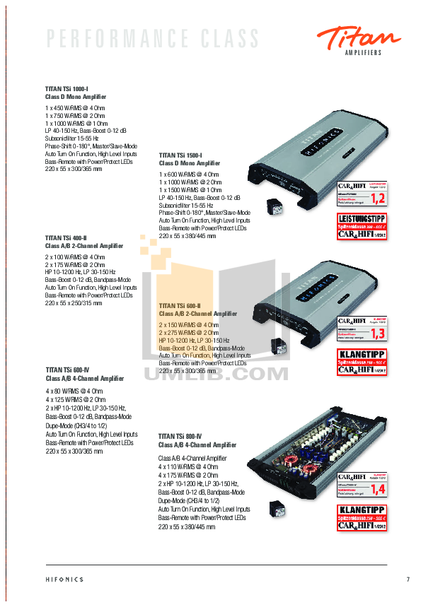 PDF manual for Hifonics Car Amplifier Generation XX Zeus