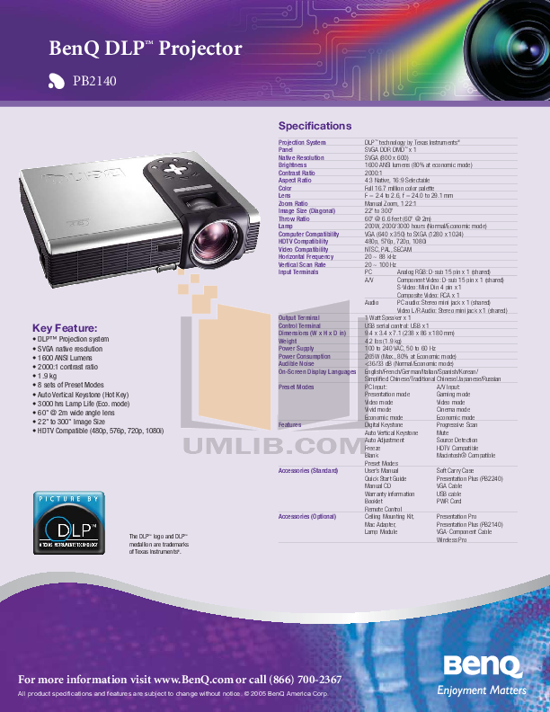 pdf for Benq Projector PB2140 manual