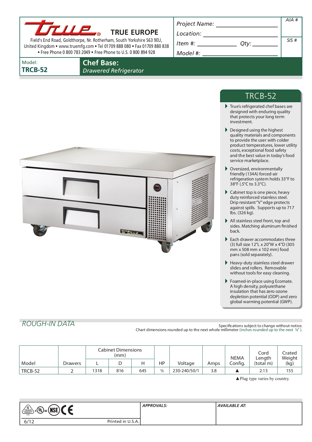 Download free pdf for True TM-52 Refrigerator manual on