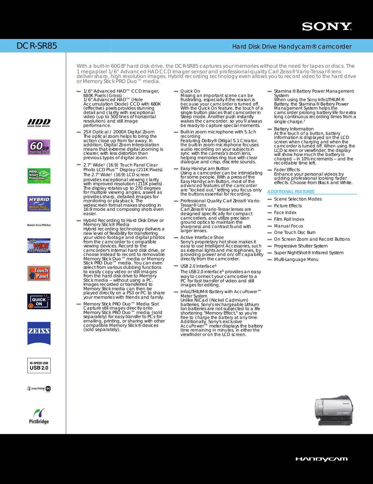 download free pdf for sony handycam dcr sr85 camcorders manual rh umlib com sony handycam dcr-sr85 manual sony dcr-sr85 manual