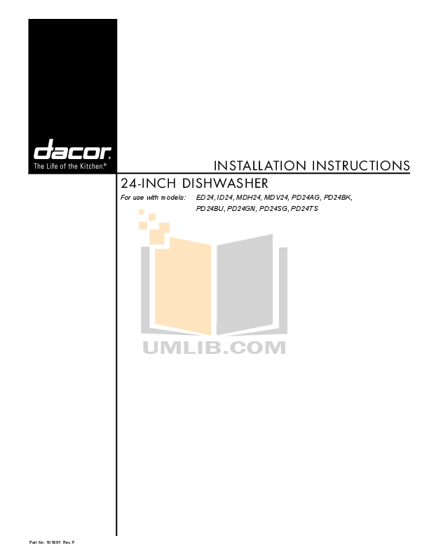 pdf for Dacor Dishwasher Millennia MDH24 manual
