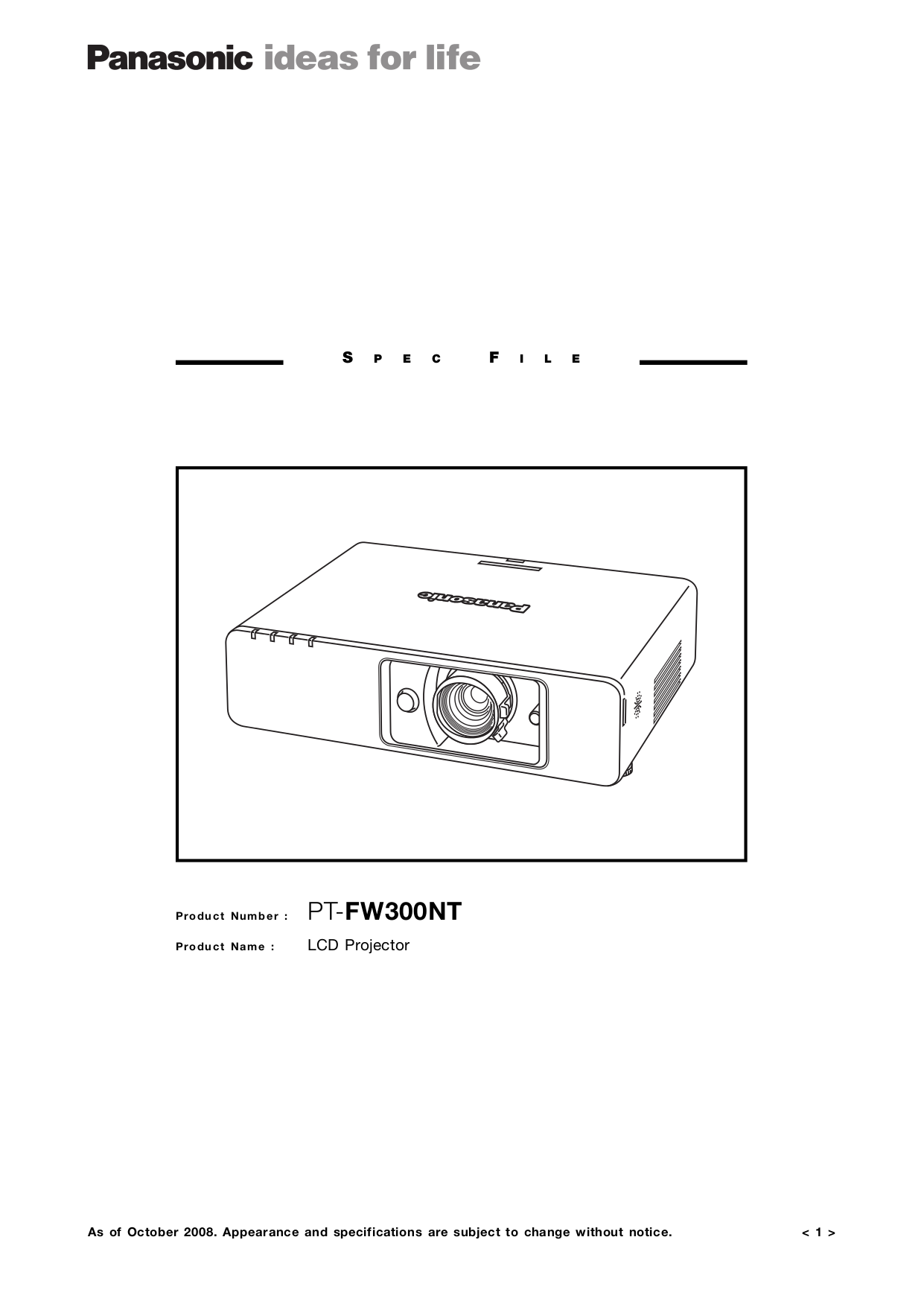 pdf for Panasonic Projector PT-FW300NT manual