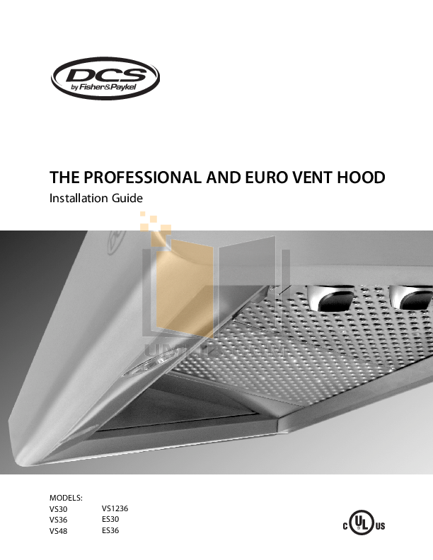 pdf for DCS Other ES30 Vent Hood manual