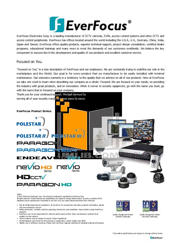 pdf for EverFocus Security Camera EB200 manual